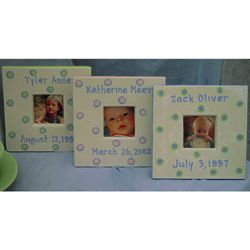 Baby's Personalized Ceramic Dot Picture Frame
