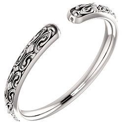 Open Shank Paisley Swirl Ring in 14K White Gold