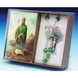 St. Patrick Laminate Prayer Card and Rosary