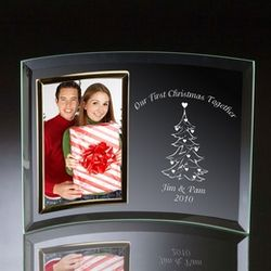 Couples First Christmas Together Curved Glass Photo Frame