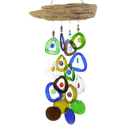 Wine Bottle Wind Chime on Driftwood