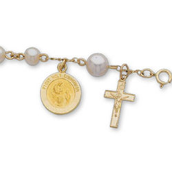 14k Gold Holy Communion Freshwater Pearl Holy Rosary Bracelet