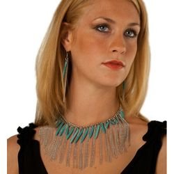 Tribal Adventure Turquoise Necklace Earring Set