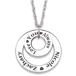 Sterling Silver Couple's Engraved Name Sentiment Necklace