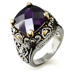 Amethyst Cubic Zirconia Ring with Golden Hearts