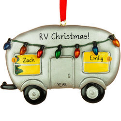 RV with Lights Christmas Ornament