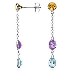 Sterling Silver Multicolor Gemstone Drop Earrings