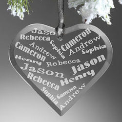 Her Heart of Love Personalized Christmas Ornament