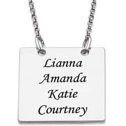 Sterling Silver Square Names Necklace