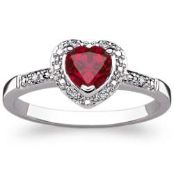 Sterling Silver Faux Ruby Heart and Diamond Ring