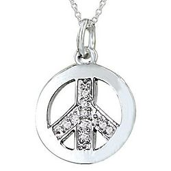 Peace Sign Pendant with Diamonds