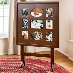 Foldable 9 Photo Wood Frame and Glass Top Table