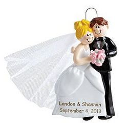 Personalized Blonde Bride Newlywed Couple Ornament