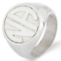 Sterling Silver Block Two Initial Signet Ring