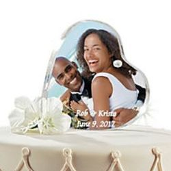 Heart-Shaped Personalized Frameless Photo Holder/Cake Topper
