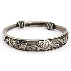 Beautiful Butterfly and Lotus Bali Bangle Bracelet