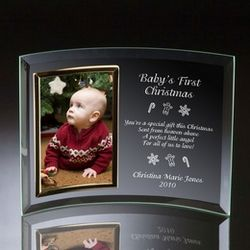 "Baby's First Christmas Curved Glass Vertical 4"" x 6"" Photo Frame"