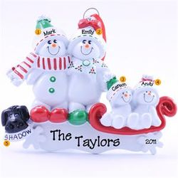 Snow Couple, 2 Kids & 1 Dog Sled Ornament