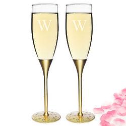 Gold Parisian Romance Champagne Flutes