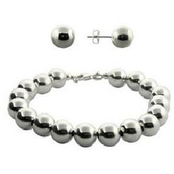 Tiffany Inspired Bead Bracelet and Earrings Set