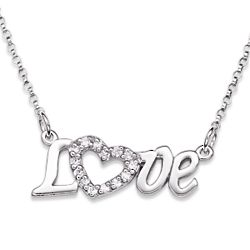 Sterling Silver Cubic Zirconia Love Necklace