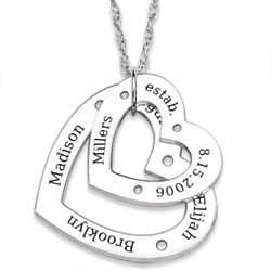 Sterling Silver Family Name Engraved Double Heart Necklace