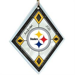 Personalized Pittsburgh Steelers Glass Christmas Ornament