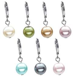 Colored Pearl Leverback Earring Set