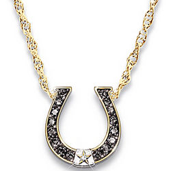 Black Beauty Sapphire and Diamond Horseshoe Necklace