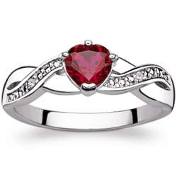Sterling Silver Faux Ruby Heart Fancy Ring with Diamond Accents