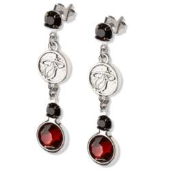 Crystal Earrings with Miami Heat Logo Charm