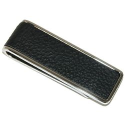 Polished Rhodium Tie Clip with Inlaid Black Pebble Leather