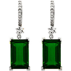 Emerald Green Emerald Cut Cubic Zirconia Dangle Earrings
