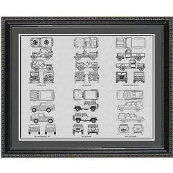 Jeep Blueprint Collection Framed Print