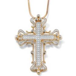 Gold Over Silver Diamond Accent Cross Pendant