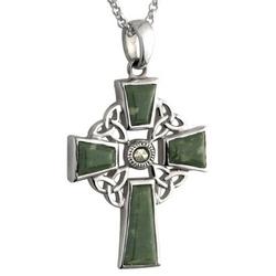 Connemara Marble Trinity Knot Cross Pendant