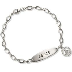 CZ Peace Sign ID Bracelet in Sterling Silver