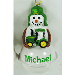 John Deere Snow Bell Christmas Ornament with Boy's Name