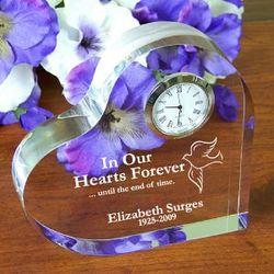 Personalized Memorial Heart Keepsake Clock