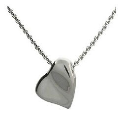 Tiffany Style Carved Heart Pendant in Sterling Silver