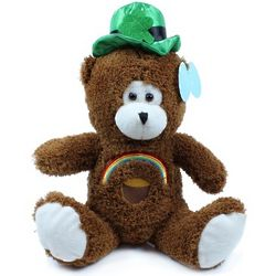 "15"" Brown St. Patrick s Day Bear with Rainbow"