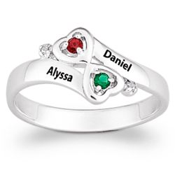 Sterling Silver Couple's Heart Birthstone Ring with Diamond