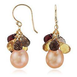 Freshwater Pearl and Multi-Gemstone Earrings