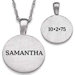 Sterling Silver Name and Date Satin Disc Necklace