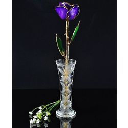24 Karat Gold Trimmed Lilac Rose with Crystal Vase
