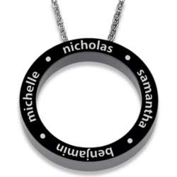 Black Titanium Family Name Engraved Disc Necklace