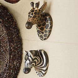 Carved Wood Safari Animal Head Wall Hangings