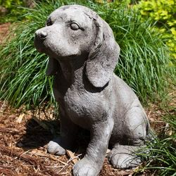 It's Ruff Out Cement Puppy Lawn Ornament