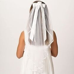 """First Communion 25"""" Veil with Ribbon Comb"""