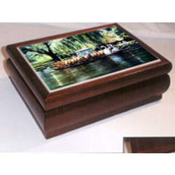 Cherry Wood Music Box With Scenic Tile of Swan Boats